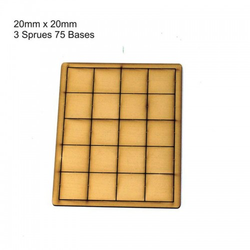 60 Bases 20mm x 20mm Primed Tan (4Ground)