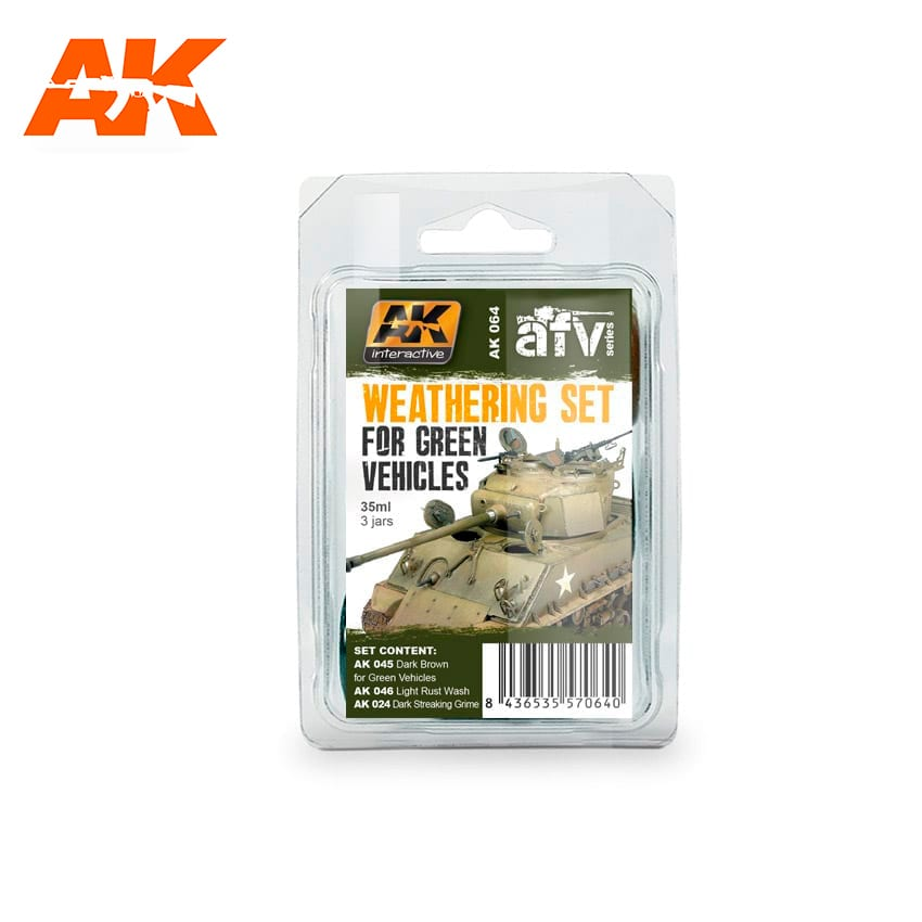 AK064 Weathering Set for Green Vehicles (AK Interactive)