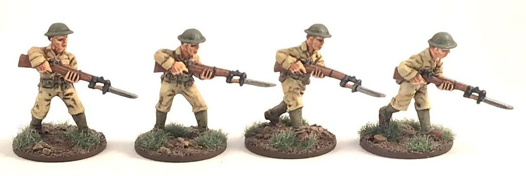 Philippines 1941 US Army Assaulting (4) 28mm Scale (Company B)