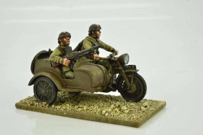 French Motorcycle and Sidecar with Riders (Crusader Miniatures)