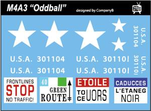 US M4A3 Oddball 1/56 and 1/35 Decal (Company B)