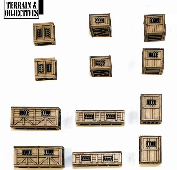 28mm Pre-painted Wild Beast Shipping Crates  (4Ground)