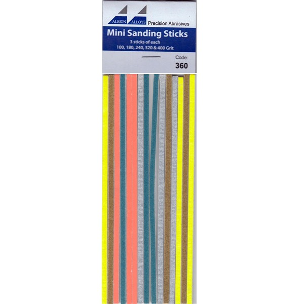 15pk Mini Sanding Sticks Albion Alloys 360