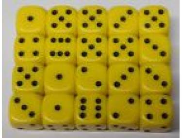 20 x Yellow Opaque Dice (d6)