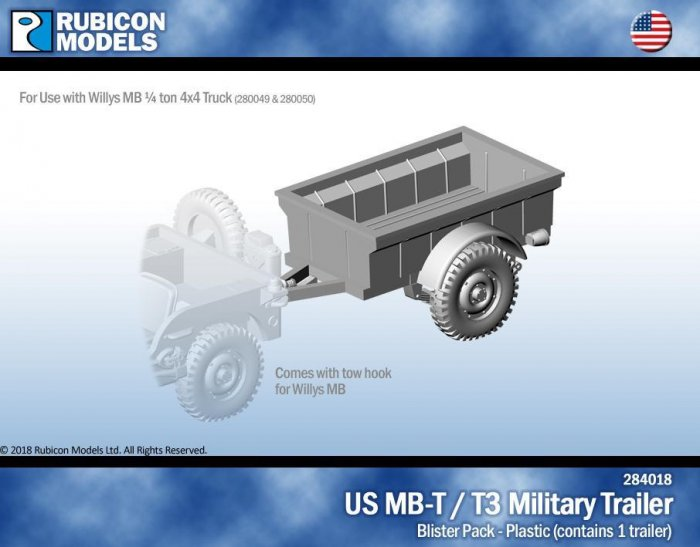 US Jeep MB-T/T3 Military Trailer Plastic Kit (Rubicon Models)