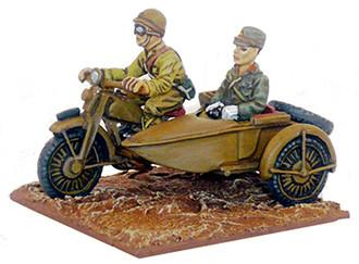 Japanese motorcycle, sidecar & Officer (Company B)