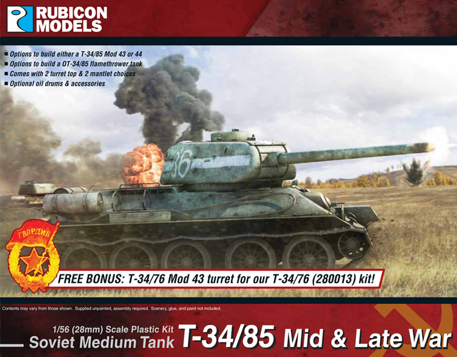 T-34/85 (or OT-34/85) Mid or Late War Plastic Kit (Rubicon Models)