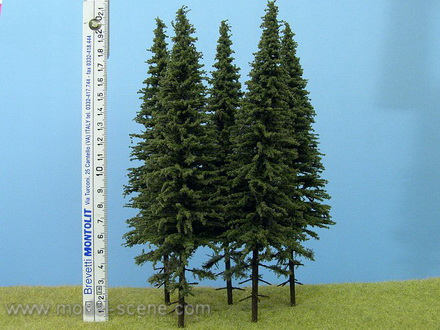 Spruce Trees 200mm with short trunk (Model Scene) x3