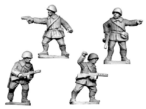 Soviet Command Winter Uniform in Helmets (Crusader Miniatures)