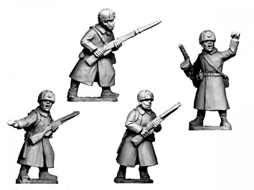 Soviet Command in Greatcoats and Fur Hats (Crusader Miniatures)